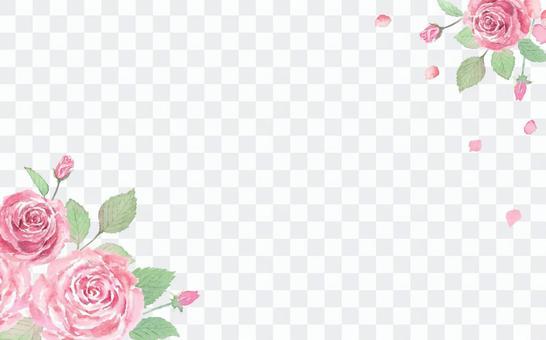 優雅的玫瑰卡水彩手繪