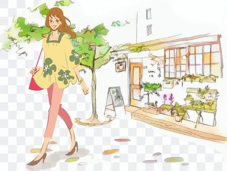 一名婦女前往一家時尚咖啡館(彩色)