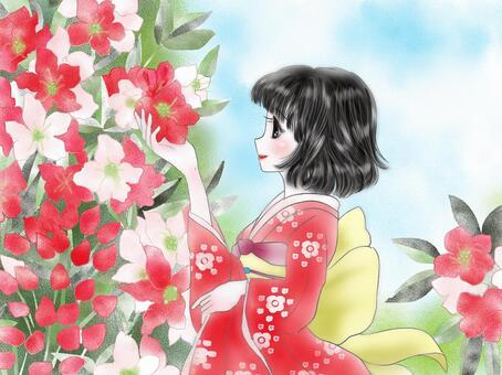 杜鵑花和女孩