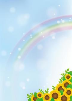 向日葵框架,背景,A4垂直,與油漆
