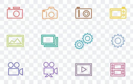 相機和單反的彩色線條藝術圖標