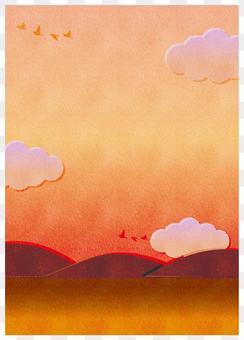 夕暮れ 風景 背景フレームイラスト縦型