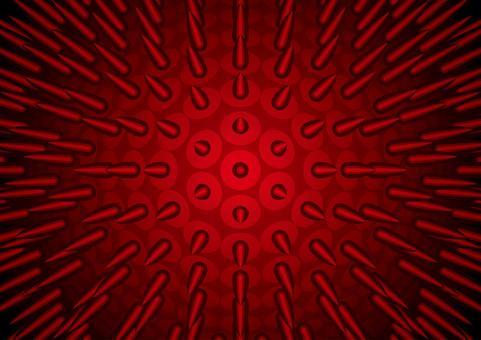 鐵球與明亮的紅色尖峰