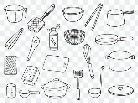 Illustration of cooking utensils (line drawing)