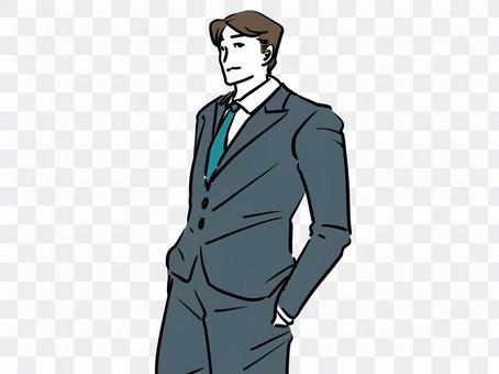 穿著西裝看起來不錯的英俊商人