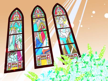教堂彩色玻璃插圖