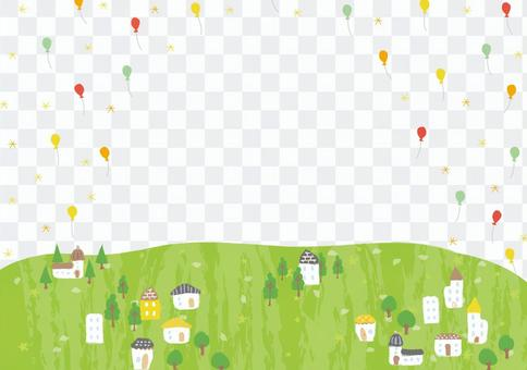 Green city where balloons fly