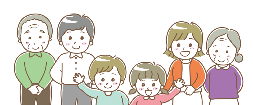 Family illustration three generations 01