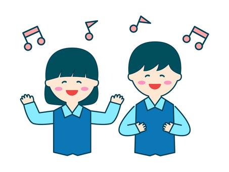 兒童唱歌,男女,上身,有線條