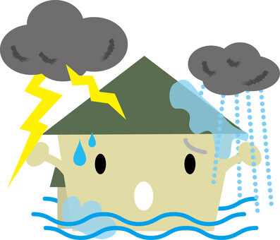 房子受雷雨,大雨,洪水破壞