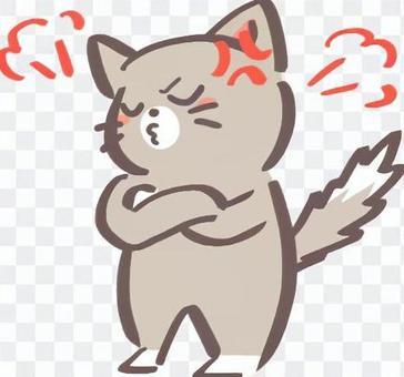 憤怒的貓(灰色)的插圖