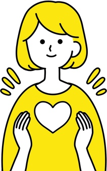 Woman Heart Happiness Clean Design Yellow