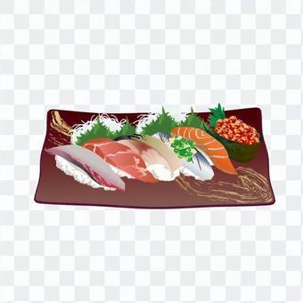 壽司(深棕色的菜)