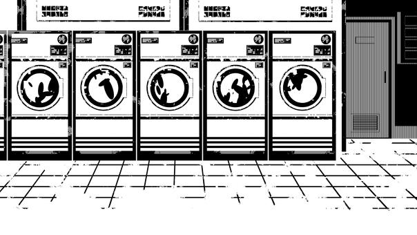 投幣式洗衣店和商店內部,白色背景,透明背景