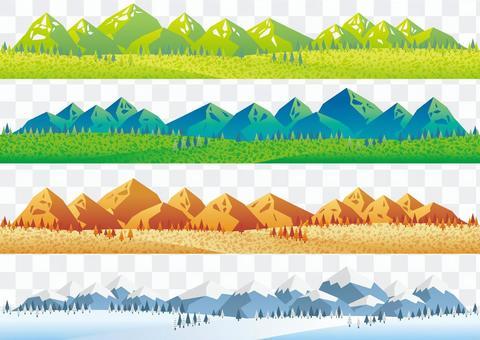 원활한 사계절 산맥 일러스트 세트
