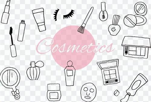 手写的化妆品的插图集