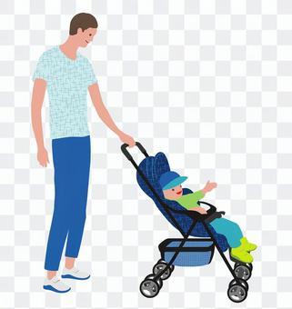 嬰兒推車和父親的平面插圖