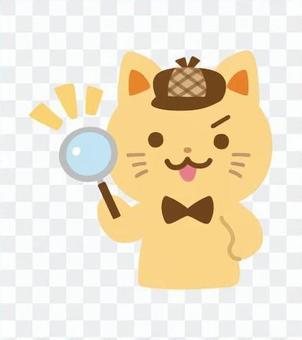 猫の探偵キャラクター(虫眼鏡)