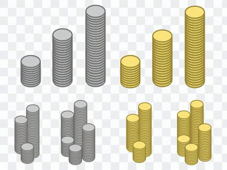 堆疊硬幣套裝金幣銀幣