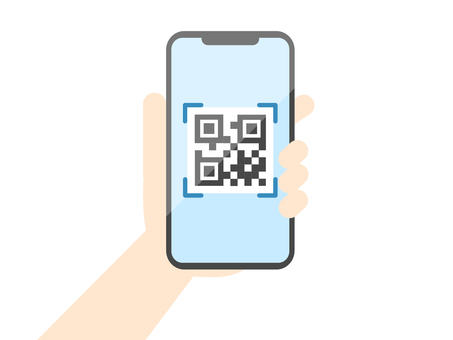 Illustration of reading a QR code with a smartphone
