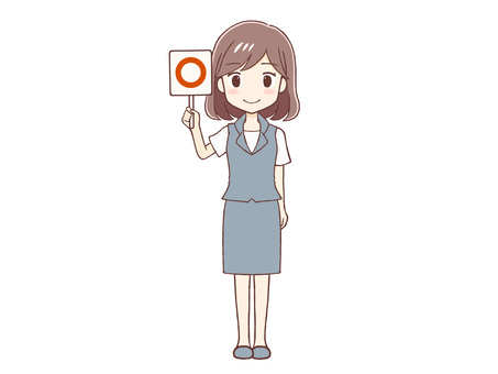 Uniform woman giving a round sign