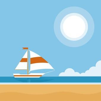 ビーチ  ヨット   船