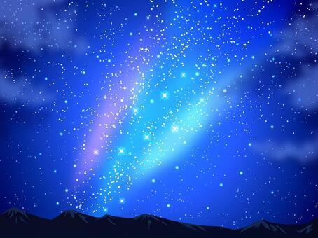 星星和夜晚的天空和山背景01