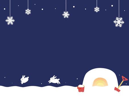 冬天雪背景鎌倉和兔子