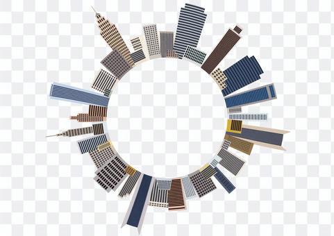Circle frame of skyscraper skyscraper