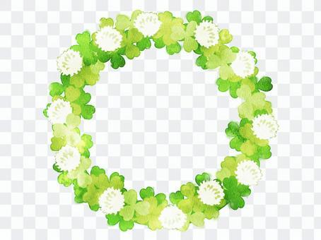 水彩三葉草的圓形框架