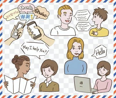 English conversation overseas travel foreigner illustration