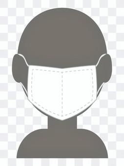 マスクをつけている人のシルエット