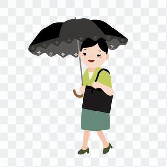 1陽傘的女人