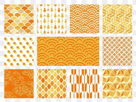 手繪日式花紋背景套裝(橙色)