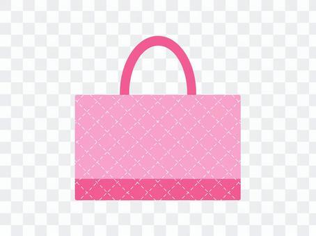 課袋絎縫粉色