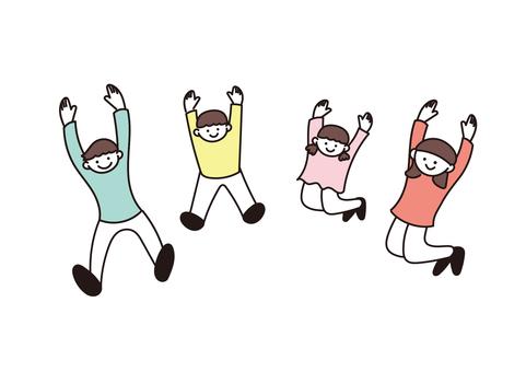 活潑的家庭插畫(跳躍)