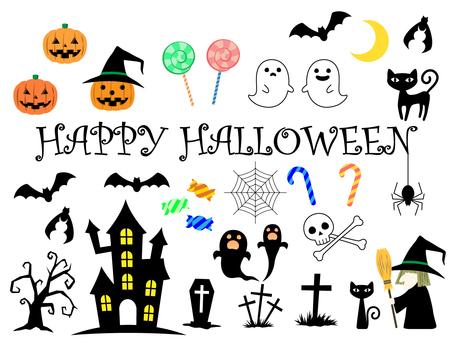Halloween cute icon set