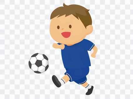 A man playing soccer