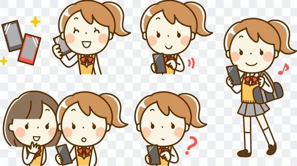 女學生和智能手機___各種集