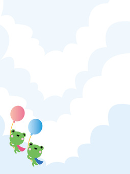 Frog brothers who fly over the expansive sky spreading balloons