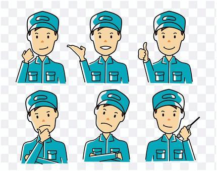 為工人和機械師設置的面部表情