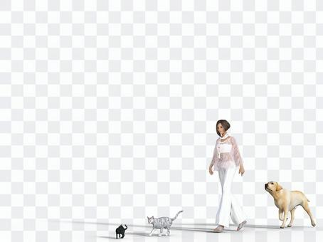 Walking woman and two cats and retriever