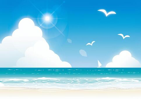 仲夏海太陽和水平線2