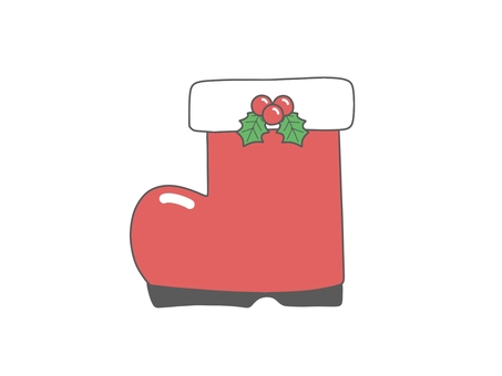 Santa Claus boots with Christmas holly