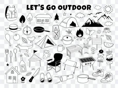 戶外和野營線描插圖集