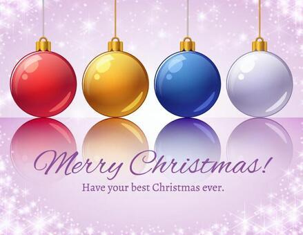 閃耀的紫色背景和聖誕節裝飾品