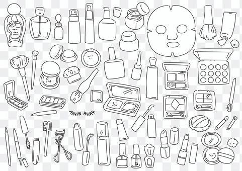 Hand-drawn line art illustration of makeup item set