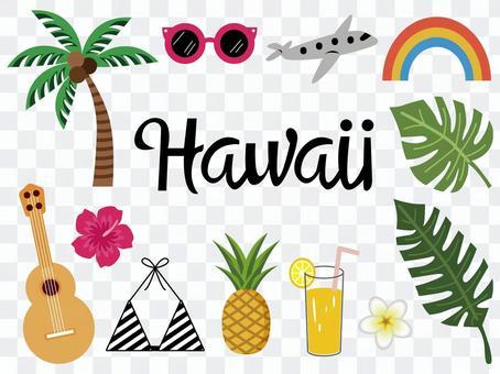 時興的夏威夷例證設置各種各樣