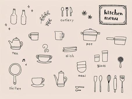 廚房手寫的材料集