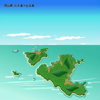 北木島 白石島 岡山県 島 海 上空
